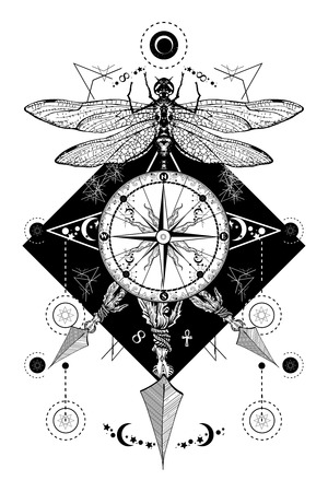 Dragonfly, compass crossed arrows tattoo. Mystical symbols traveler, dreamer. Occult and astrological zodiac signs. Boho style, adventure, travel, t-shirt design. Dragonfly, rose compass tatto art Vectores