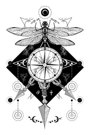 Libellula, bussola attraversato frecce tatuaggio. simboli mistici viaggiatore, sognatore. segni zodiacali occulte e astrologici. stile Boho, avventura, viaggi, t-shirt design. Libellula, rosa bussola tatto d'arte