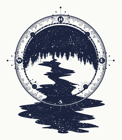 Star river flows from the compass tattoo art, travel symbol, tourism. Antique compass and stellar river t-shirt design, surreal graphics, boho style tattoo
