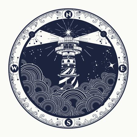 Vuurtoren op klip in stormachtig weer tattoo, Vuurtoren en nam kompas t-shirt design. symbool van meditatie, wandelen, avonturen grafische stijl. Vuurtoren in de storm op zee tattoo Stock Illustratie