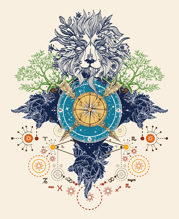 Mystic color tattoo. Lion, compass, crossed arrows, roses, evergreen tree. T-shirt design. Symbols of tourism, hunting and traveling. Medieval Ethnic style lion and compass tattoo art