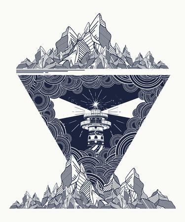 Faro en el arte del tatuaje tormenta, montañas Faro tatuaje estilo geométrico, diseño de la camiseta. Faro tatuaje marino, símbolo de la meditación, caminatas, aventuras Ilustración de vector