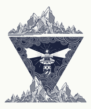surreal: Lighthouse in the storm tattoo art, Lighthouse mountains geometric style tattoo, t-shirt design. Lighthouse marine tattoo, symbol of meditation, hiking, adventures Illustration