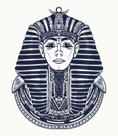 Pharaoh tattoo art, Egypt pharaoh graphic, t-shirt design. Great king of ancient Egypt. Tutankhamen mask tatoo. Egyptian golden pharaohs mask, ethnic style tattoo vector 일러스트
