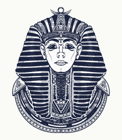 Pharaoh tattoo art, Egypt pharaoh graphic, t-shirt design. Great king of ancient Egypt. Tutankhamen mask tatoo. Egyptian golden pharaohs mask, ethnic style tattoo vector Vectores