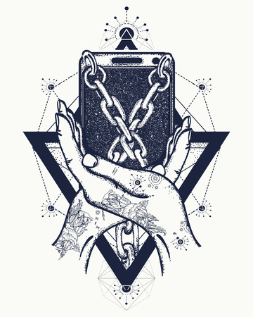handcuffed: Smart phone tied with chains tattoo art, concept dependence Internet. Dependence on the mobile phone mystical geometric style, mobile wrapped chains tattoo Illustration