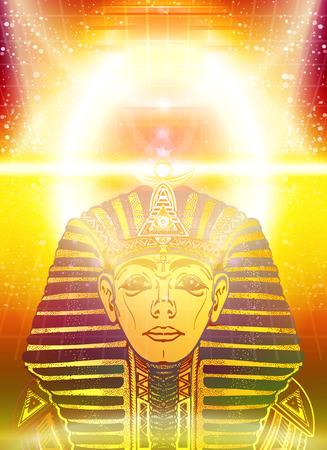 tutankhamen: Golden Pharaoh, ancient Egypt, esoteric background. Egypt pharaoh Tutankhamen golden mask. Egyptian god ethnic style mystical vector Illustration