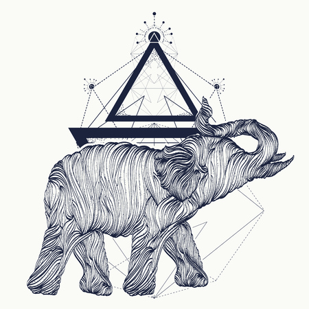 Elephant tattoo line art, dotwork sketch, elephant geometrical style t-shirt design. Symbol of meditation, tourism tattoo art