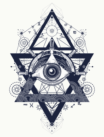 All seeing eye tattoo art vector. Freemason and spiritual symbols. Alchemy, medieval religion, occultism, spirituality and esoteric tattoo. Magic eye, compass and steering wheel t-shirt design Illustration