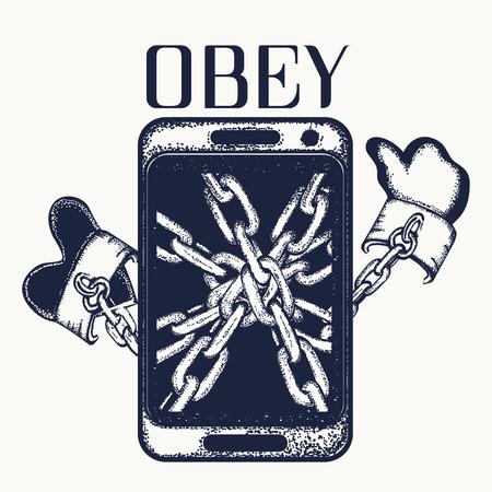 obey: Obedecer tatuaje. La dependencia de teléfono. Concepto de la dependencia arte del tatuaje Internet. Teléfono herida por una cadena, la dependencia de las redes sociales diseño de la camiseta