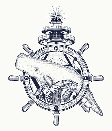 Whale, steering wheel, lighthouse, tattoo art. Travel, adventure, outdoors, tattoo symbol. Whale tattoo for hipsters, travelers. Water waves in the sea marine boho tattoo Vectores