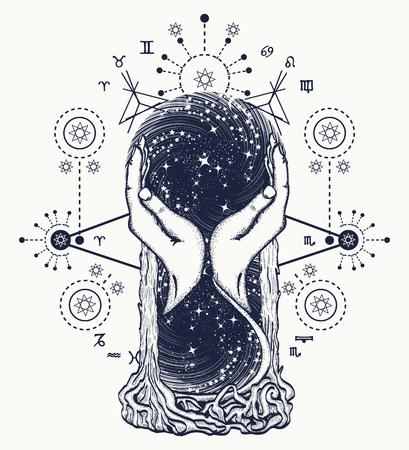 空間砂時計のタトゥー、時間の概念。占星術、無限、永遠、生命と死、神秘的な入れ墨のシンボルです。砂時計の占星術のシンボルのタトゥー アー
