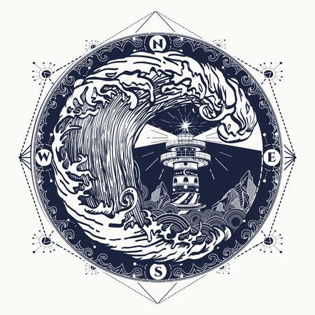 Vuurtoren en storm tattoo vuurtoren en nam kompas t-shirt design. symbool van wandelen, avonturen grafische stijl. Grote tsunami golven, vuurtoren, kompas tattoo Stock Illustratie