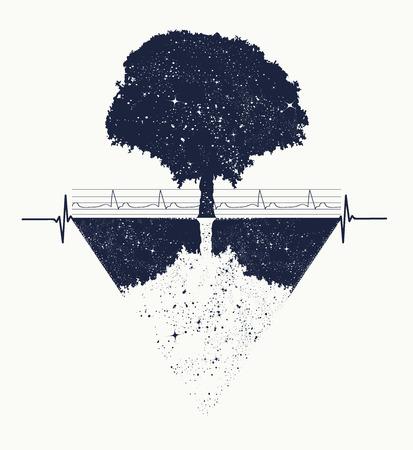 生命の木の入れ墨アート、幾何学的なスタイル、神秘的な部族のシンボル、マジック ツリー t シャツ デザイン。未来と過去、生と死の象徴マジック