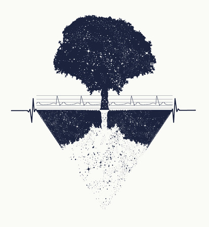 Tree of Life tattoo art, geometrical style, mystic tribal symbol, magic tree t-shirt design. Future and the past, symbol of life and death, magic tree tattoo boho style Vettoriali
