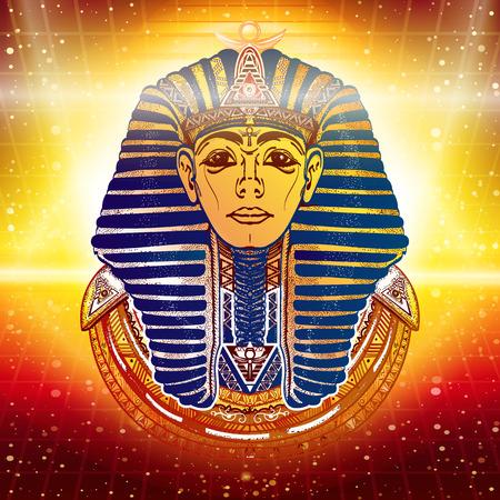 金、古代エジプトのファラオの難解な背景。エジプトのファラオ ツタンカーメンの黄金のマスク。エジプトの神エスニック風ベクトル  イラスト・ベクター素材