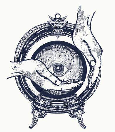 Tatuaje fortuna cajero, bola de cristal en sus manos. Predicciones sobre el futuro diseño del símbolo mágico de la camiseta y el arte del tatuaje. Todo el ojo que ve, las manos brujas, adivinación del tatuaje