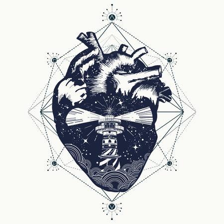 Leuchtturm am Herz Tattoo, reisen. Symbol der Meditation, Wandern, Abenteuer, Grafik-Stil. Leuchtturm auf Felsen im stürmischen Wetter. Liebe zu reisen, anatomisches Herz surrealen Grafiken T-Shirt Design Vektorgrafik