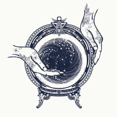 arte del tatuaje adivino y el diseño de la camiseta. bola de cristal en sus manos. mística adivinación tatuaje y símbolo mágico