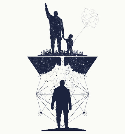 immortality: Father and son, concept of memory tattoo art. Immortality of human life t-shirt design. Life tree. Memory of parents tattoo Illustration