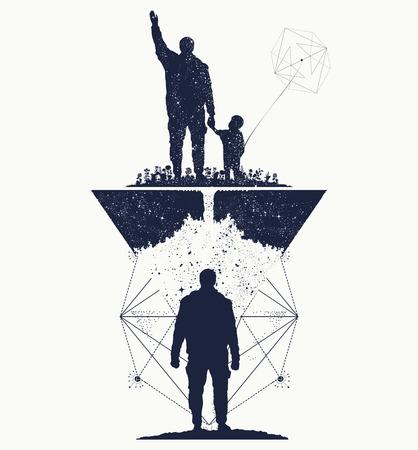psicologia infantil: Padre e hijo, el concepto de arte del tatuaje memoria. Inmortalidad del diseño de la camiseta la vida humana. árbol de la vida. Memoria de los padres del tatuaje