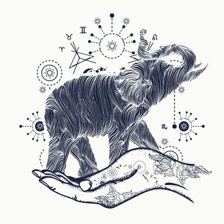 Elefant in der Hand Tattoo-Kunst. Elefant sakralen Stil T-Shirt-Design. Symbol der Meditation, des Tourismus, Hipster. Elephant Linie Kunsttätowierung Standard-Bild - 67906496