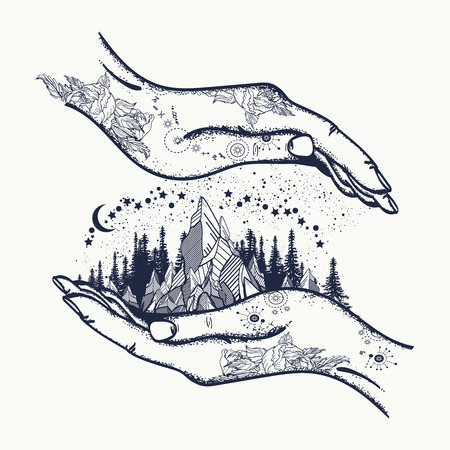 Mountains in hands, tattoo. Symbol of travel, tourism, meditation. Mountains boho style, t-shirt design, surreal graphics tattoo Vectores