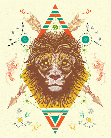 color tribal tattoo: Lion totem tattoo, crossed arrows. Lion color tattoo tribal style, t-shirt design vector. Mystic lion and carp occult tattoo. Alchemy, religion, spirituality, occultism, boho totem art Illustration