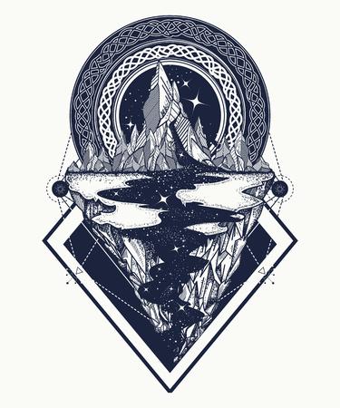 Montañas tatuaje estilo geométrico. Aventura, viajes, al aire libre, diseño del símbolo, estilo boho, camiseta. Estrella río y las montañas arte del tatuaje, estilo inconformista