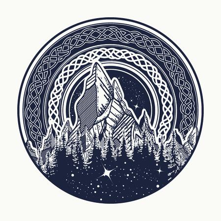 Bergen in de cirkel tattoo, Keltische stijl. Buitenleven. Symbool van avontuurlijk toerisme, meditatie. Natuur Mountain tattoo en t-shirt design tribale vector illustratie