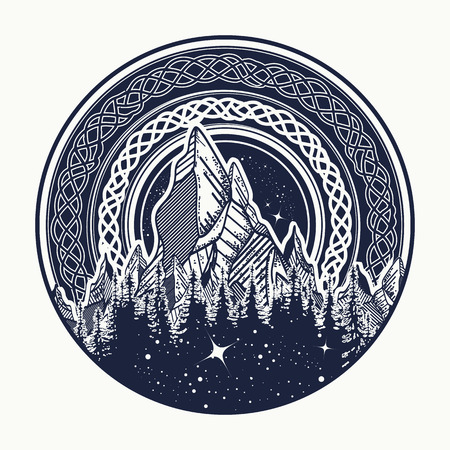 Mountains in the circle tattoo, celtic style. Great outdoors. Symbol of adventure tourism, meditation. Nature Mountain tattoo and t-shirt design tribal vector illustration