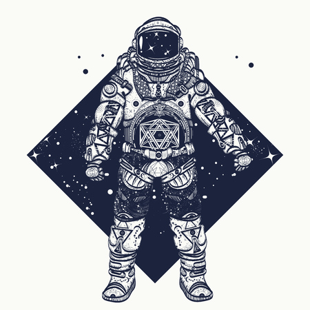 Astronaut tattoo.  Cosmonaut in deep space triangular style and t-shirt design