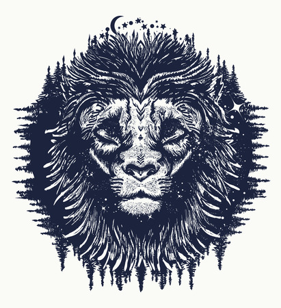 Lion in the night sky tattoo. Symbol travel, tourism, adventure. Lion t-shirt design