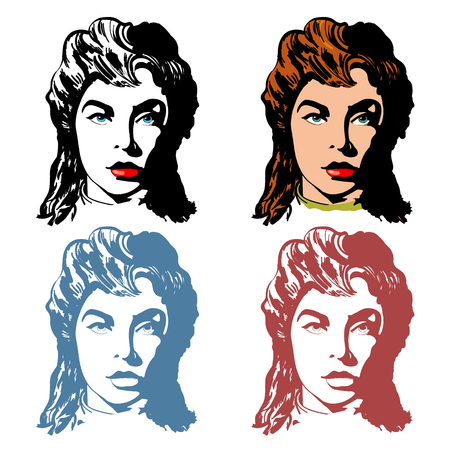 hairdressing salon: Beautiful women,  logo for beauty shop, hairdressing salon. Fashion woman collection hand drawn art