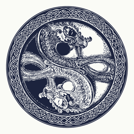 Two Dragons in the Celtic style, tattoo. Black and white dragon in Yin yang  t-shirt design. Meditation, philosophy, harmony symbol.