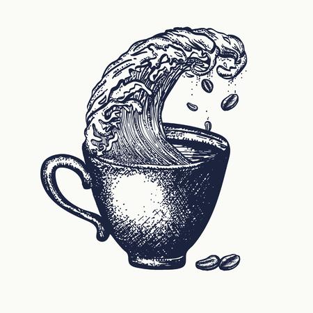 Burza w filiżance kawy tatuażu i t-shirt, surrealistyczne grafiki. Pomysł sztuki kawy Ilustracje wektorowe