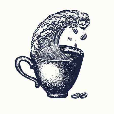 Storm in a cup of coffee tattoo and t-shirt design, surreal graphic. Coffee art idea Vettoriali