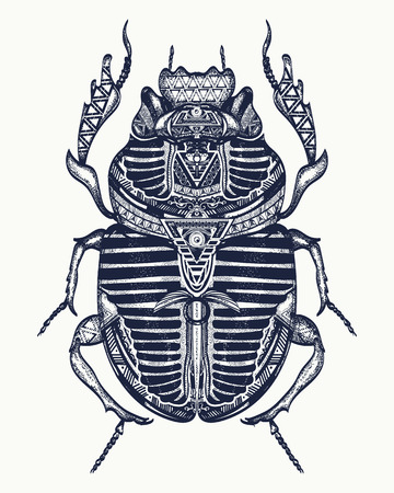 Scarab tattoo, ancient Egypt art. Spiritual symbolof pharaoh, god Ra, t-shirt design. Egyptian sacred bug a scarab, symbol of the sun