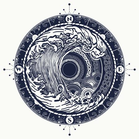 海コンパスと嵐ケルト スタイルをタトゥーします。大きな波、コンパス ローズの t シャツ デザイン。冒険自由奔放に生きるスタイルのシンボルで