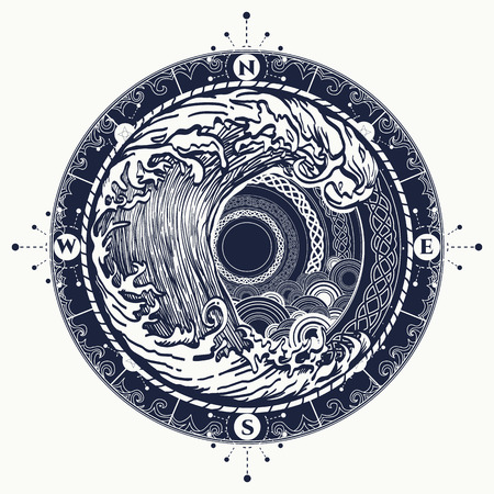 Sea compass and storm tattoo celtic style. Big wave and rose compass t-shirt design. Symbol of  adventures boho style. Great outdoors. Tsunami waves tattoo
