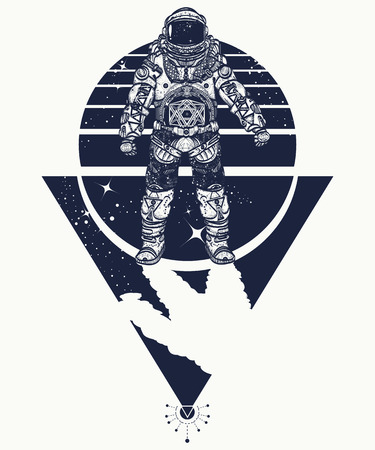 sacral: Astronaut in space, tattoo. Cosmonaut in deep space triangular style t-shirt design. Spaceman tattoo art