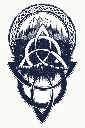 Celtic tatouage noeud. Montagne, forêt, symbole Voyage, la symétrie, la conception t-shirt de tourisme. tatouage celtique dans un style ethnique