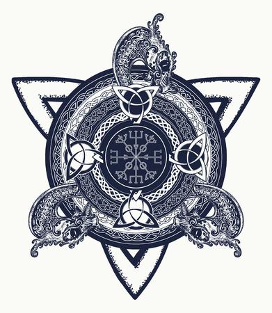 arte del tatuaje cruz celta y diseño de la camiseta. Dragones, símbolo de Viking. Timón del temor, aegishjalmur, nudo de la trinidad celta, tatuaje. Ilustración de vector