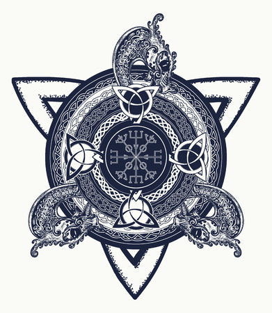 shamanism: Celtic cross tattoo art and t-shirt design. Dragons, symbol of the Viking. Helm of Awe, aegishjalmur, celtic trinity knot, tattoo.