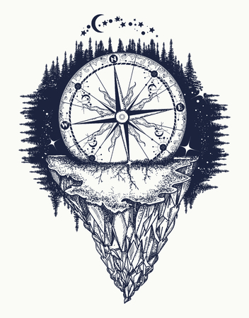 Mountain antique compass and wind rose tattoo art. Adventure, travel, outdoors, symbol. Tattoo for travelers, climbers, hikers. Compass buried in rock tattoo boho style, t-shirt design Vettoriali