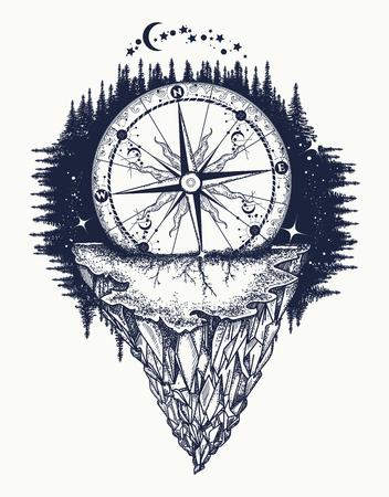 Mountain antieke kompas en wind roos tattoo art. Avontuur, reis, in openlucht, symbool. Tattoo voor reizigers, klimmers, wandelaars. Compass begraven in rock tattoo boho-stijl, t-shirt design