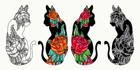 rose tattoo: Cats tattoo art and t-shirt design. Rose flowers in a silhouette of cats. Romantic hand drawing art poster Illustration