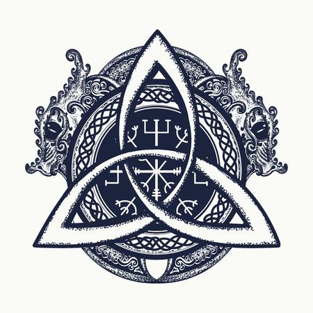 Dragones y nudo celta, tatuaje y el diseño de la camiseta. Dragones, símbolo de Viking. Timón del temor, aegishjalmur, nudo de la trinidad celta, estilo étnico norte, tatuaje Ilustración de vector