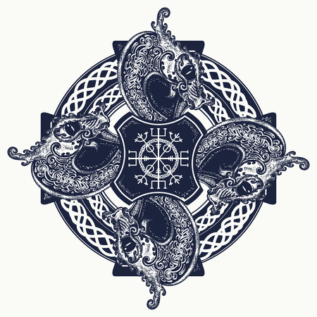 Celtic cross tattoo art and t-shirt design. Helm of Awe, aegishjalmur, celtic trinity knot, tattoo. Dragons, symbol of the Viking. Nordic celtic cross ethnic style graphics