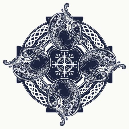 germanic: Celtic cross tattoo art and t-shirt design. Helm of Awe, aegishjalmur, celtic trinity knot, tattoo. Dragons, symbol of the Viking. Nordic celtic cross ethnic style graphics